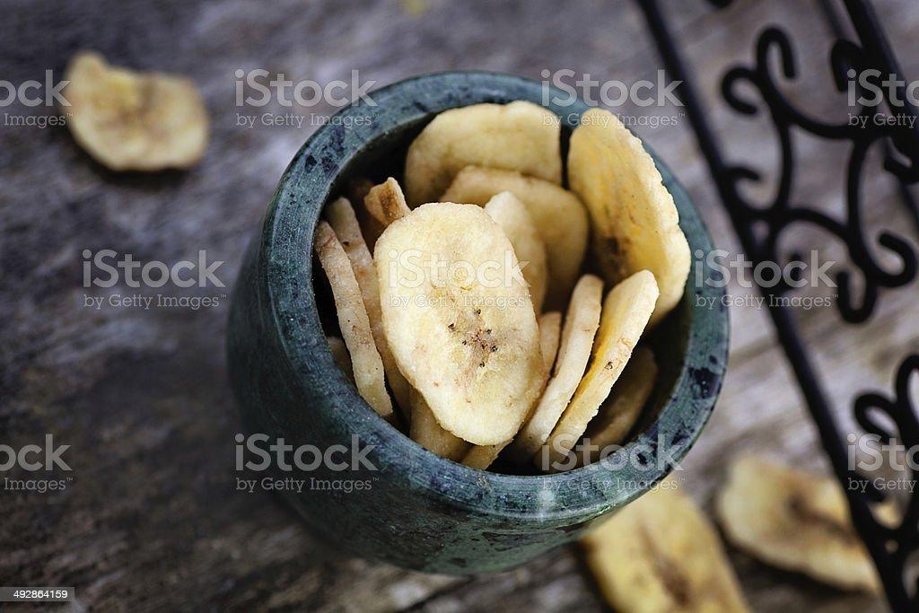 Dried banana fruit stock photo