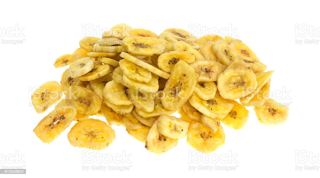 Dried bananas on a white background stock photo