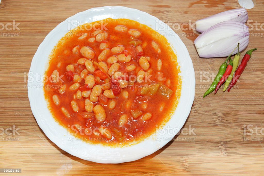 Dried beans, the most popular Turkish National Meal from above Стоковые фото Стоковая фотография