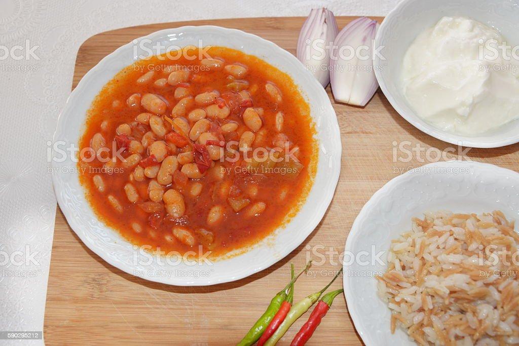 Dried beans, the most popular Turkish National Meal from above royaltyfri bildbanksbilder