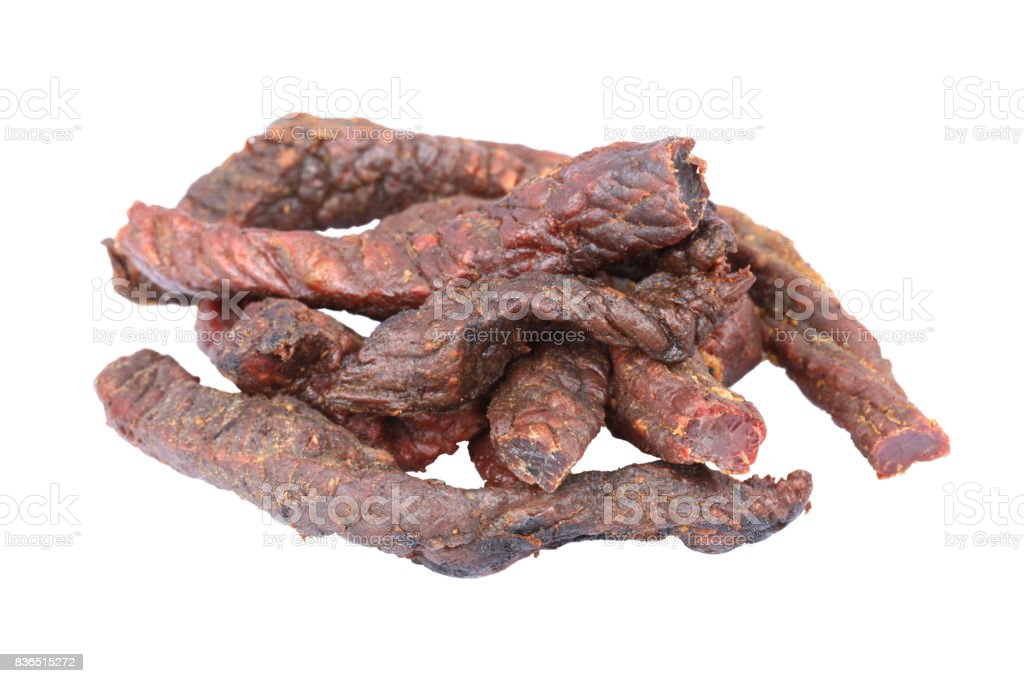 Dried beef on the white background stock photo