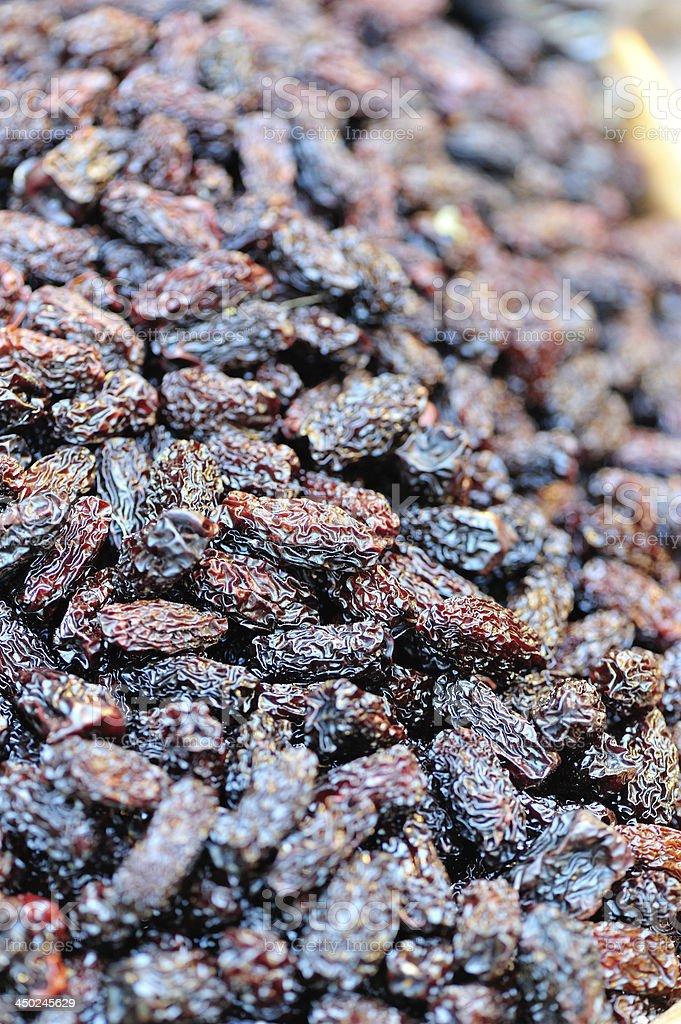 Dried black dates fruit stock photo