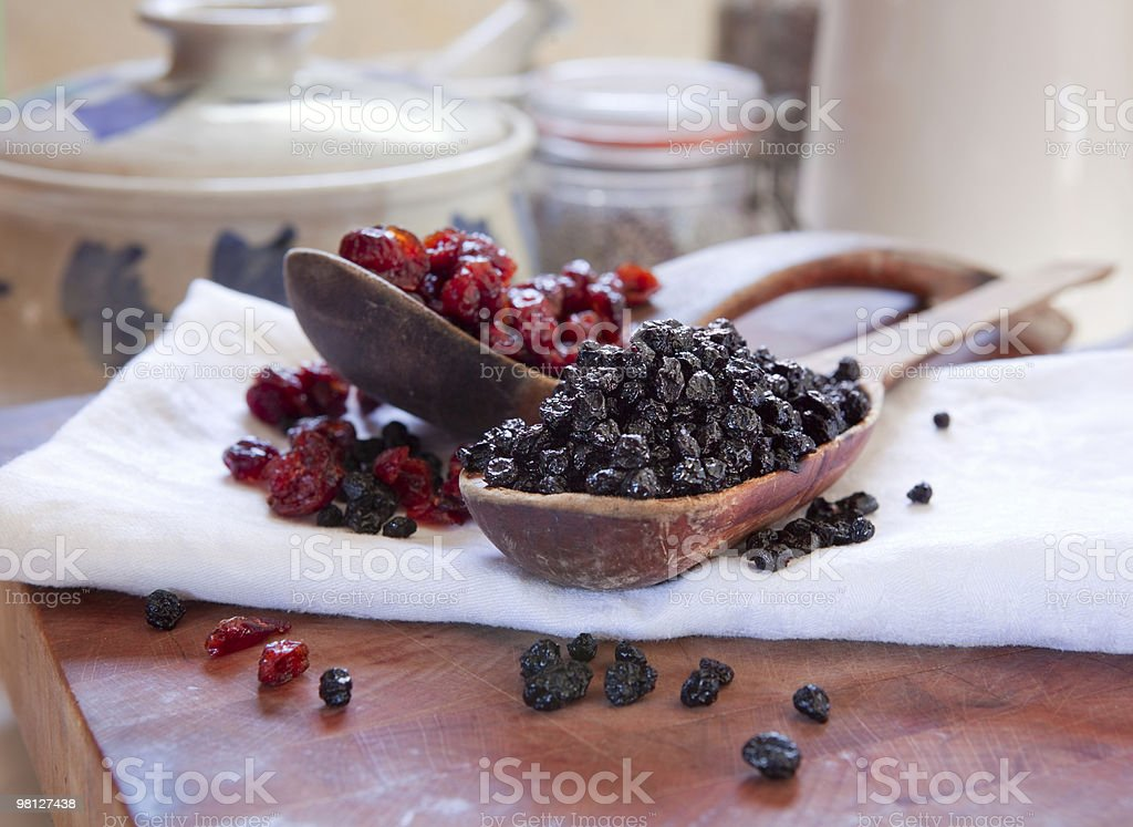Dried blueberries & cranberries royalty-free stock photo