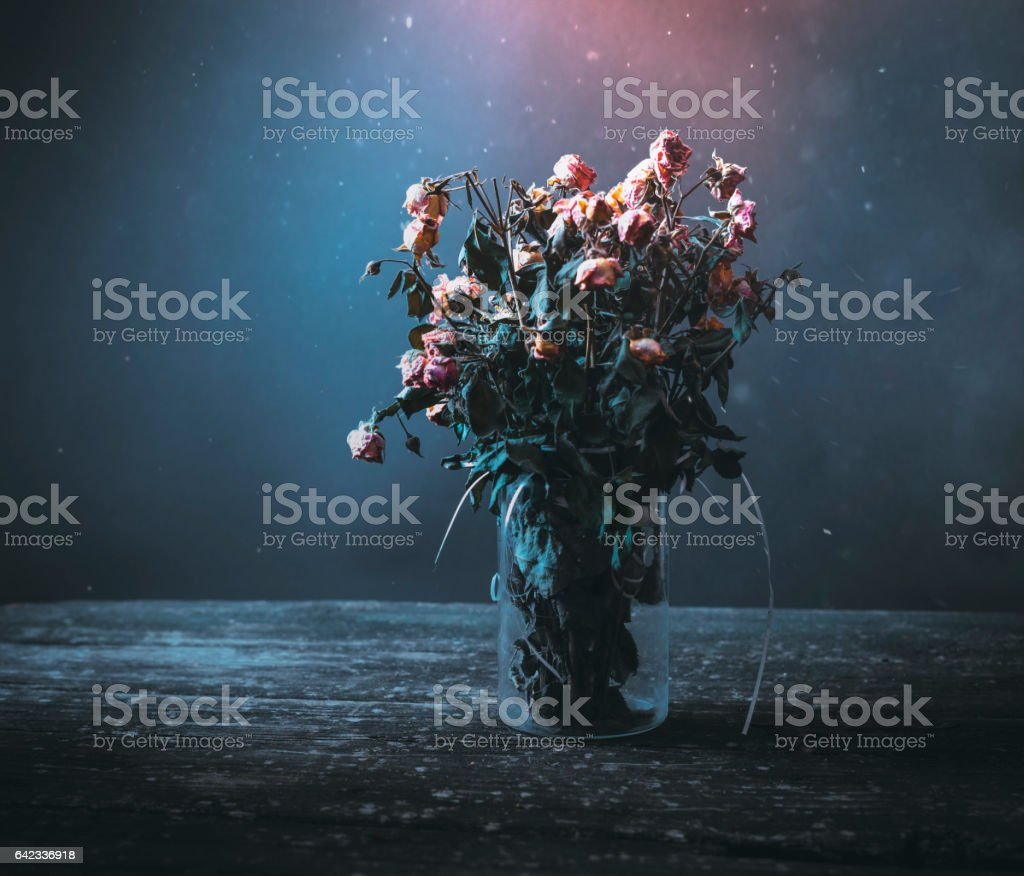 Dried bunch of roses in a vase on a wooden table on a black and blue background. Concept: dead flowers stock photo