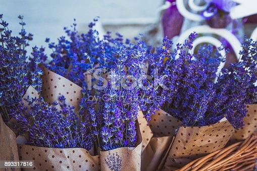 A drying room lavender. Dried bunches of lavender hanging on string.