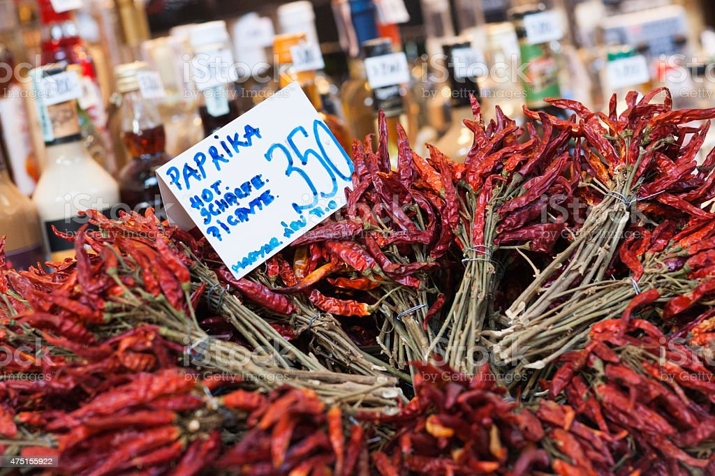 Dried bunches of red papkrika stock photo