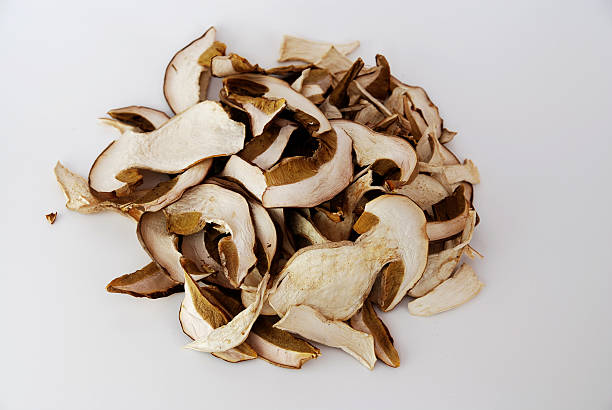 dried cep porcini for a perfect risotto ai funghi - dried food stock photos and pictures