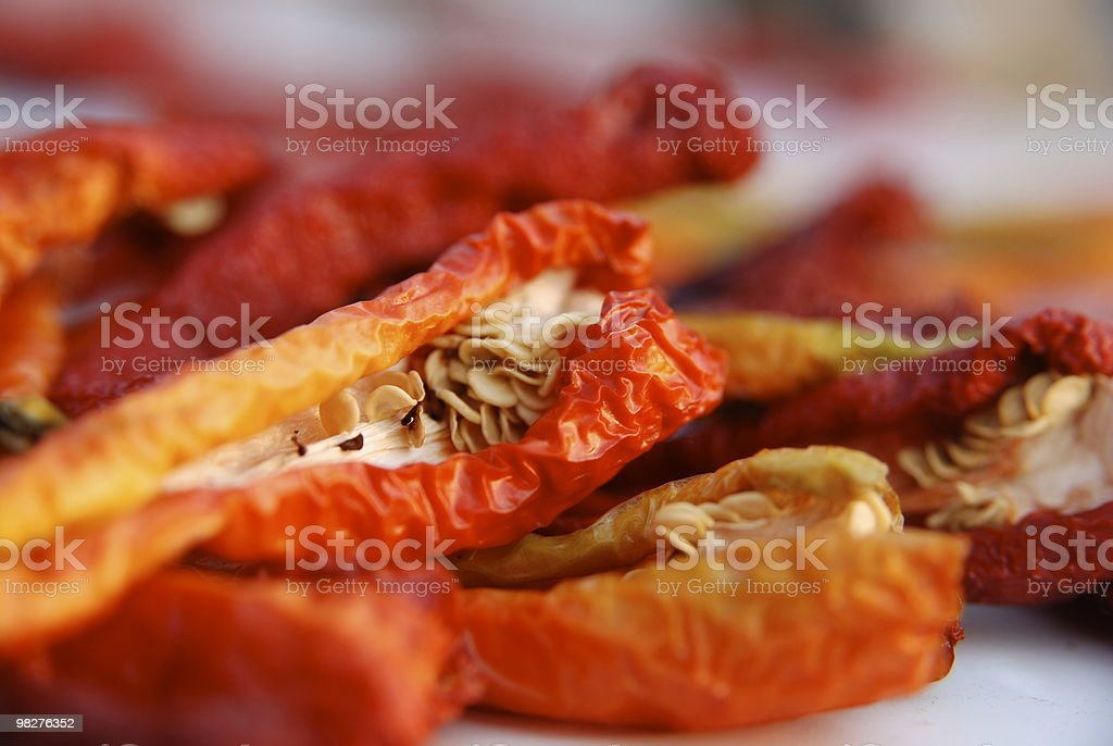 dried chilis for a pasta penne all'arrabiata royalty-free stock photo