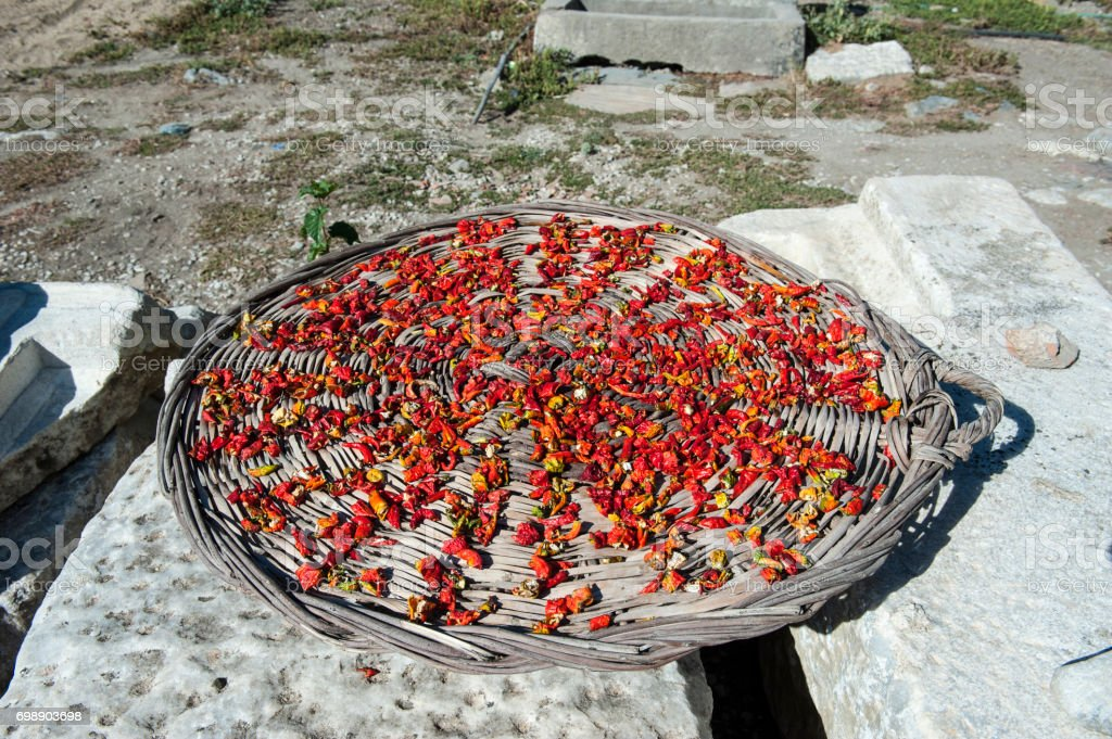 Dried Chilli Peppers stock photo