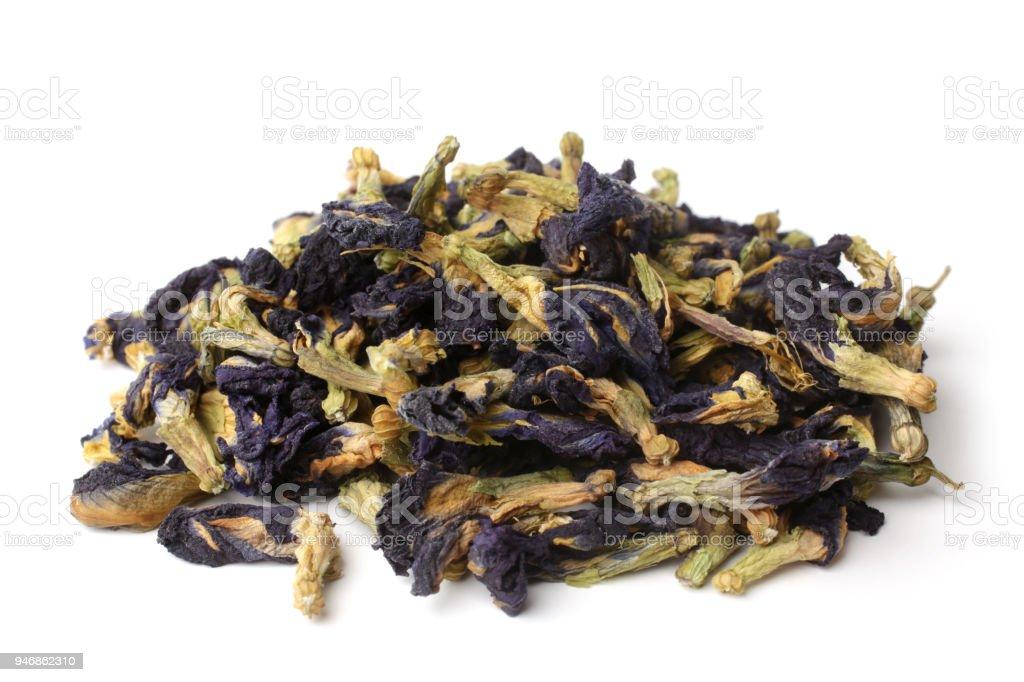 Dried Clitoria Ternatea tea stock photo