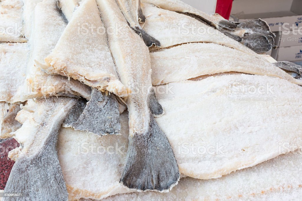 dried Cod fish salted codfish stacked stock photo