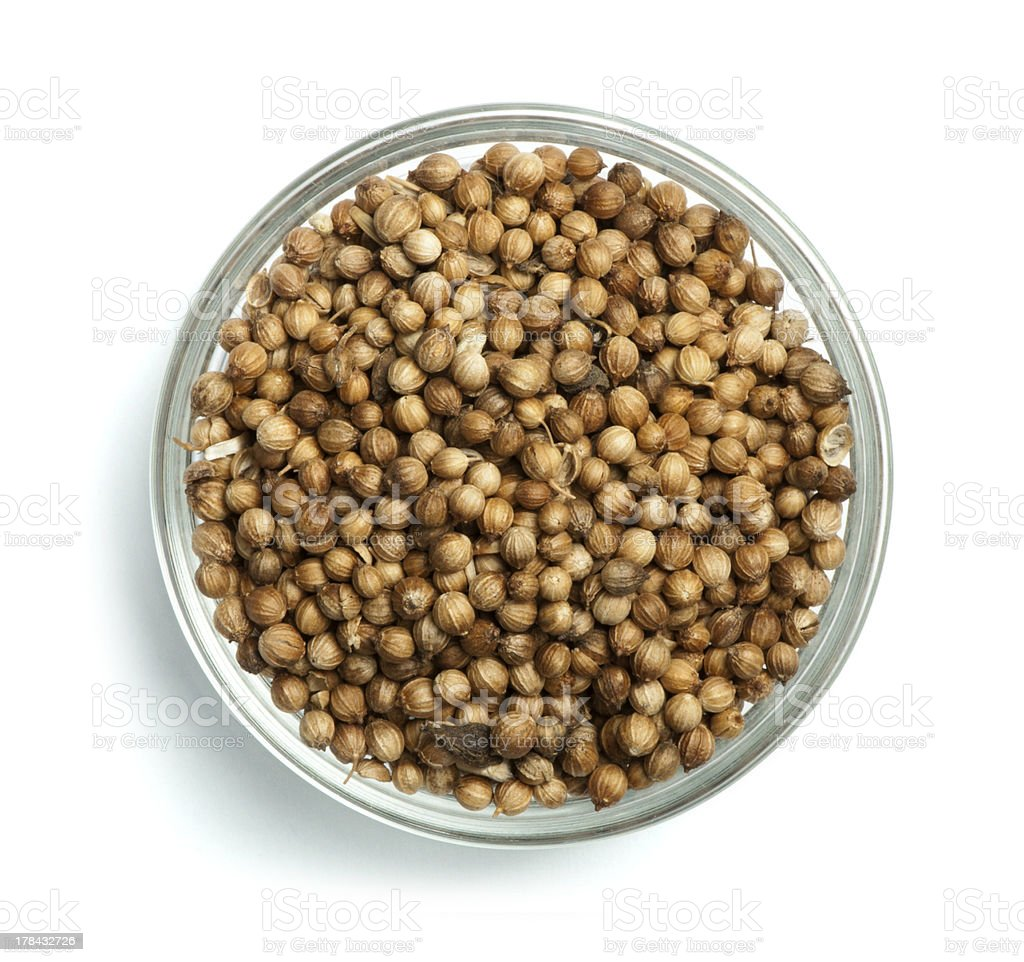 Dried coriander in a bowl royalty-free stock photo
