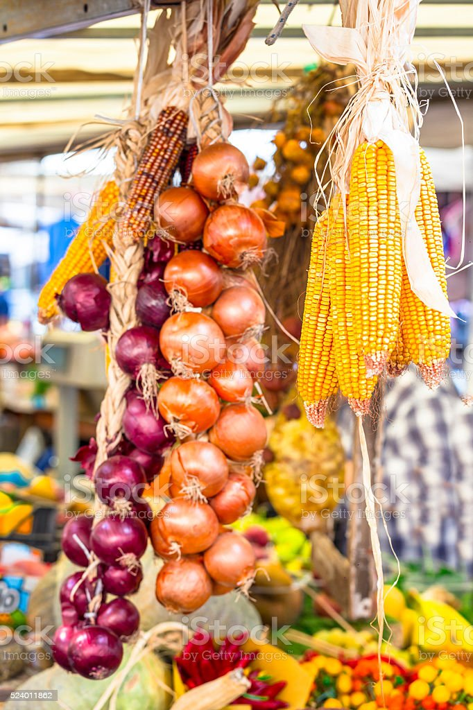 Dried Corn And Onion In Fruit Market. stock photo