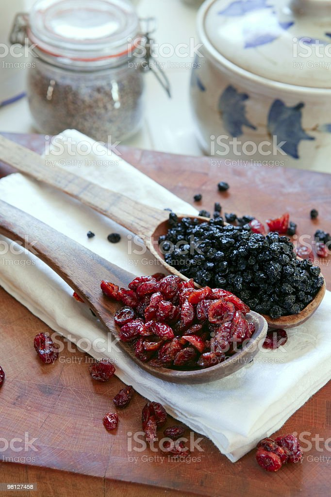 Dried cranberries & blueberries royalty-free stock photo