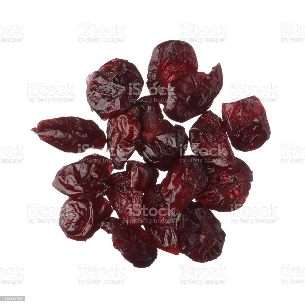 Dried cranberries isolated on white background royalty-free stock photo