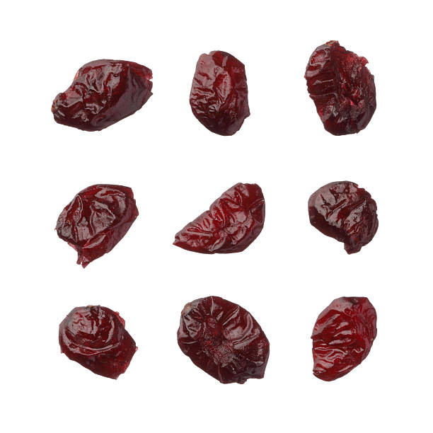 Dried cranberries isolated on white background stock photo