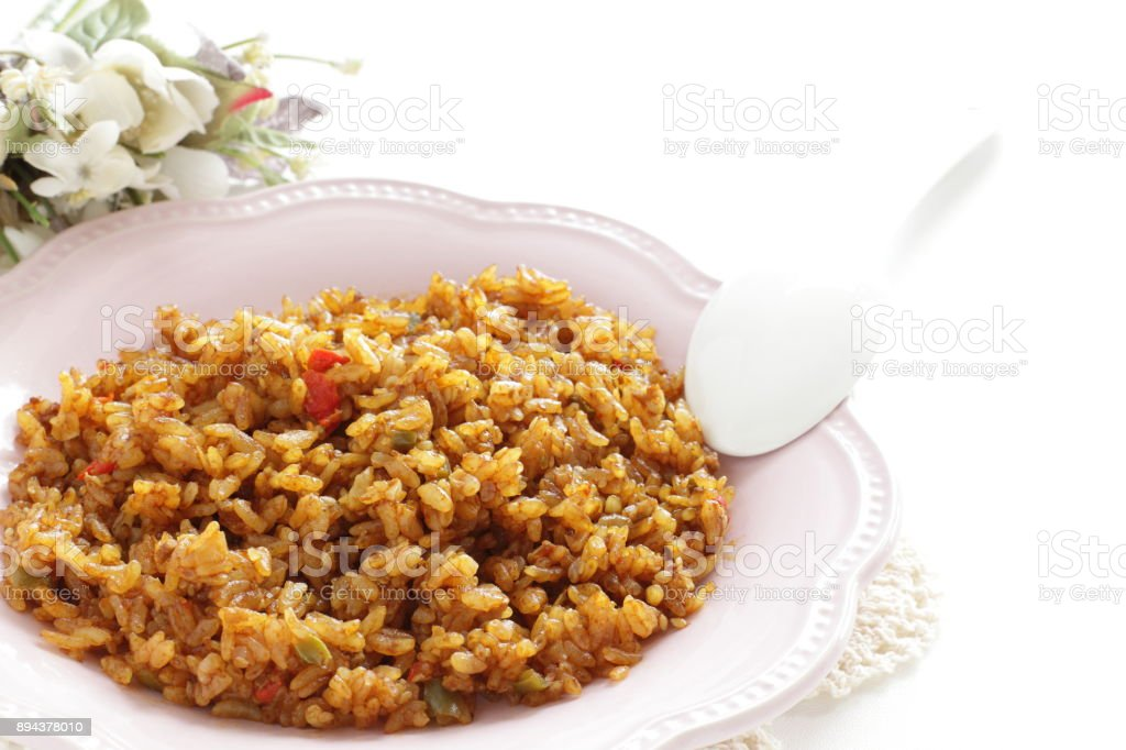 dried Curry on dish stock photo