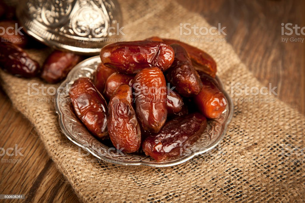 Dried date palm fruits or kurma, ramadan food stock photo