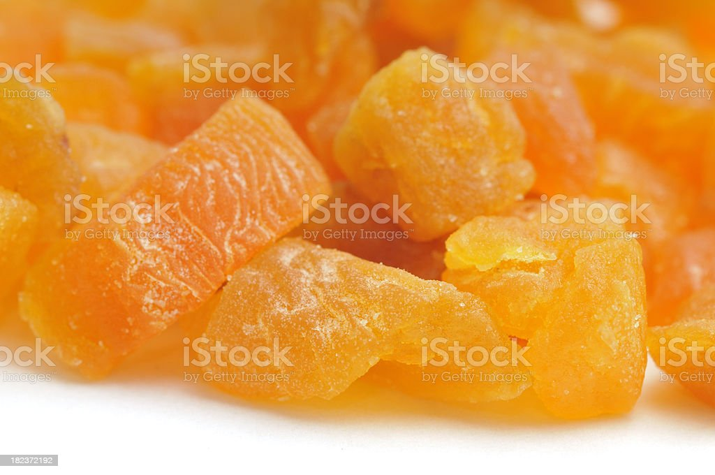 Dried Diced Apricots Macro royalty-free stock photo