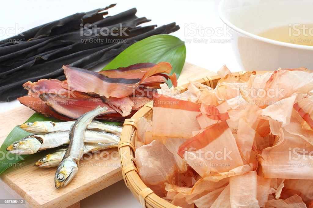 Dried dried bonito, sardines and kelp, ingredients of Japanese broth stock photo
