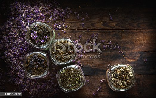 istock Dried Fireweed Tea Rustic Background 1145449172