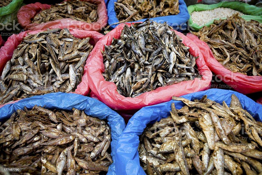 Dried Fish Asian Market royalty-free stock photo