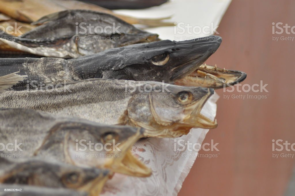 Dried fish at the market. Delicacy, snack lakes Ukraine stock photo