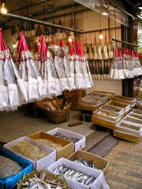 dried fish hong kong style - mcdermp stock pictures, royalty-free photos & images
