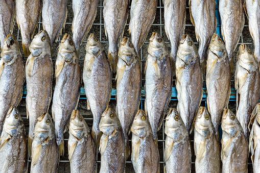 Fish on sale in famous fisherman Village Tai O on Lantau Island, Hong Kong, China.
