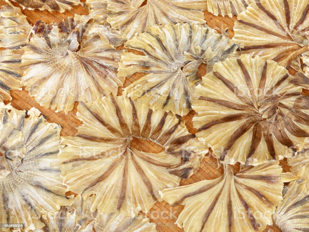 Dried Fish on Bamboo basket royalty-free stock photo