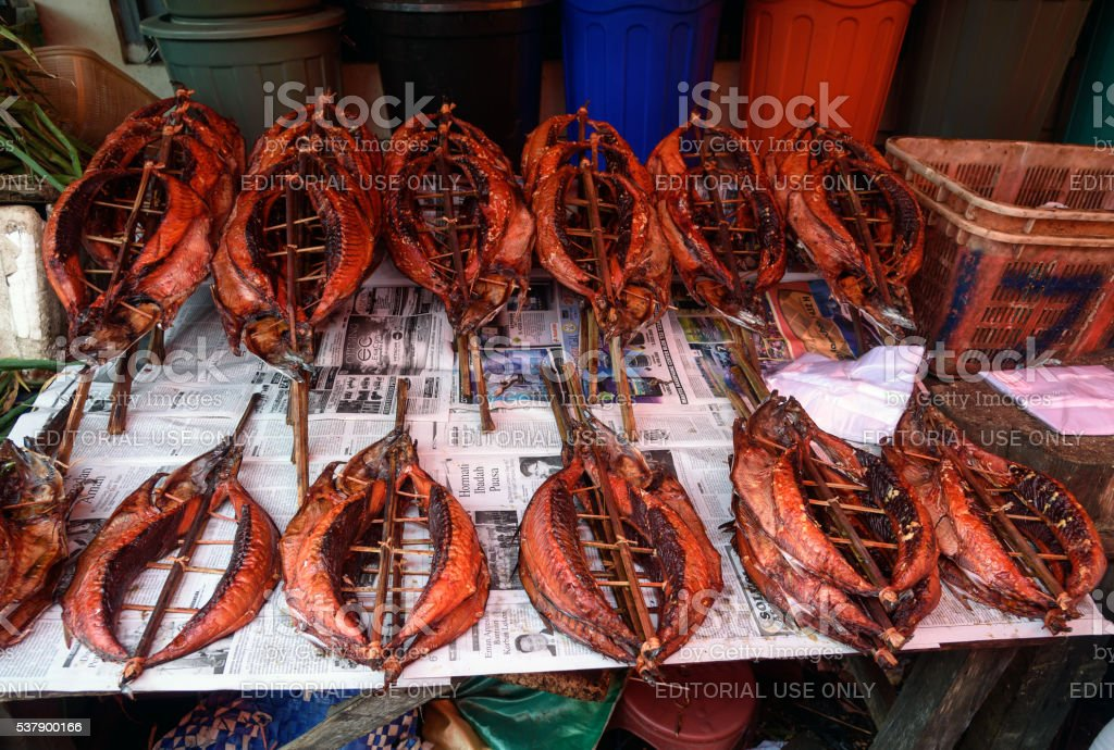 Dried fish on Tomohon Traditional Market stock photo