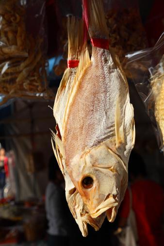 Dried fish at market in Hong Kong