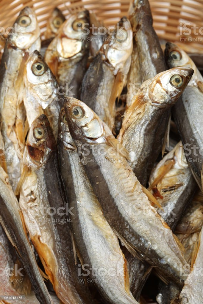 Dried fishes isolated on white background stock photo
