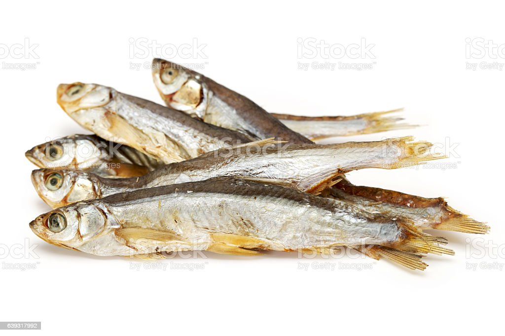 Dried fishes stock photo