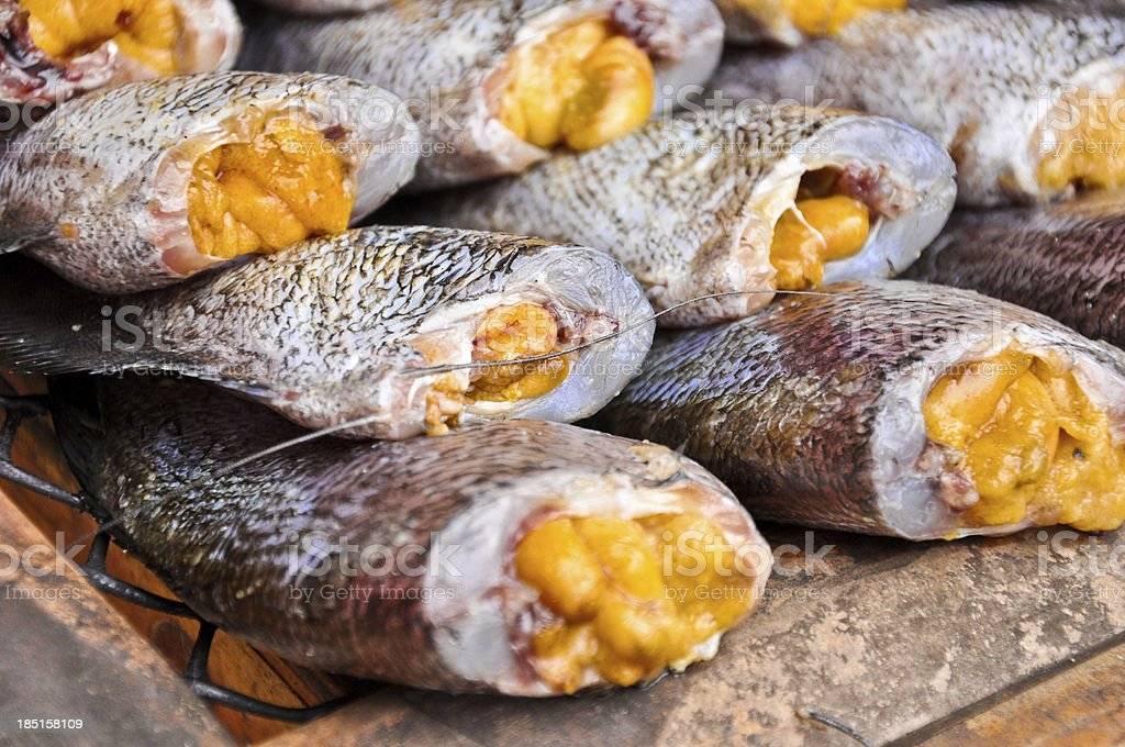 Dried fishs of local food at open market,close up royalty-free stock photo