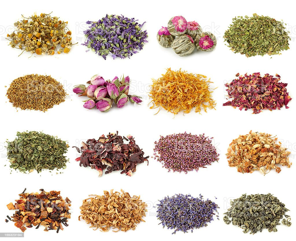 Dried flower and herbal tea stock photo