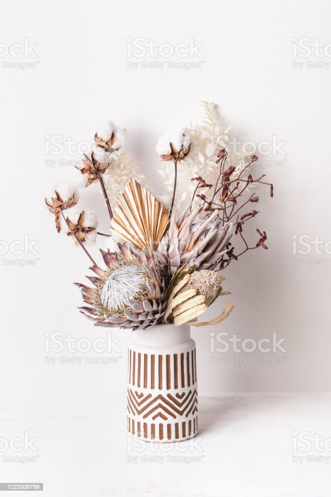 Dried Flower Arrangement In A Vase Stock Photo Download Image Now Istock
