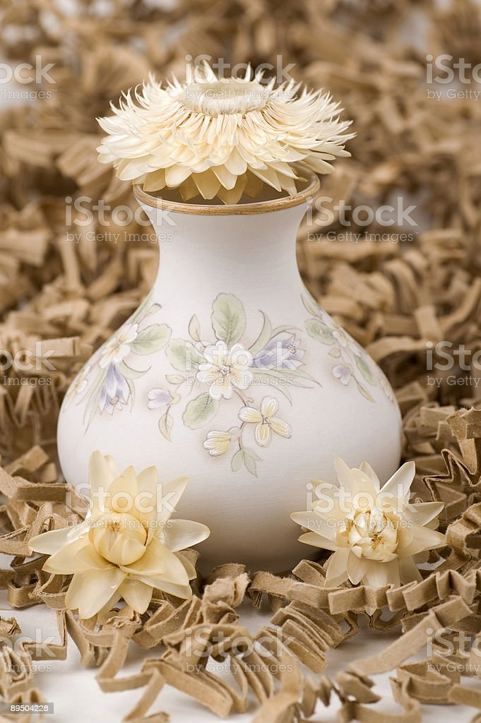 Dried flowers and vase royalty-free stock photo