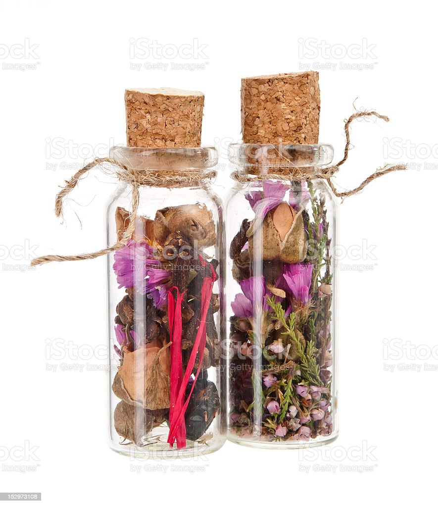 dried flowers in a flask royalty-free stock photo