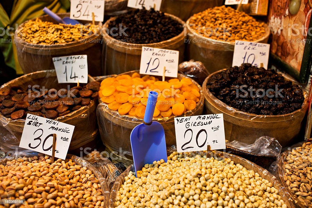 Dried food baskets on a market royalty-free stock photo
