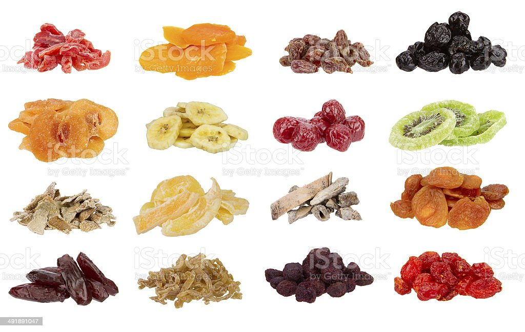 Dried fruit collection stock photo