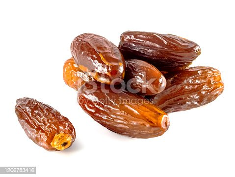 878724422 istock photo Dried fruit dates on a white background. Dried date palm fruit 1206783416