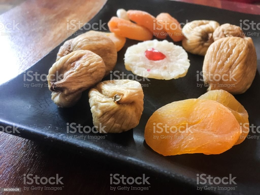 Dried fruit for christmas stock photo