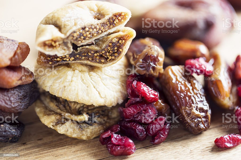 dried fruit healthy snack in winter stock photo