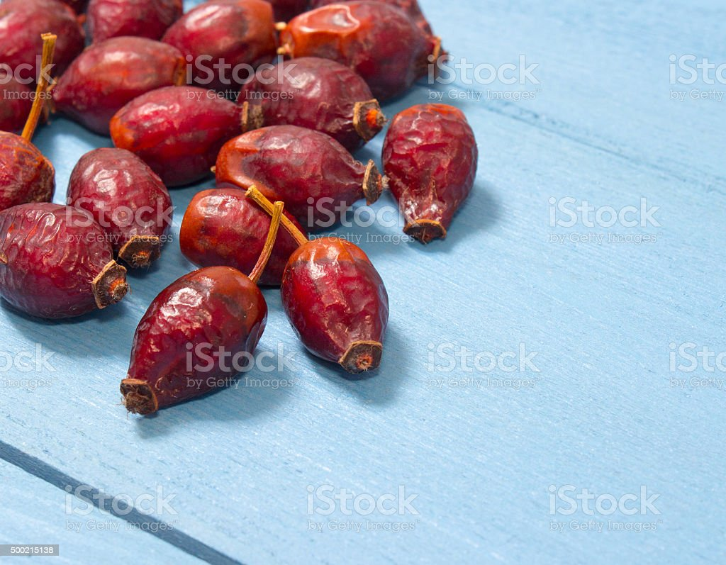 Dried fruit of hawthorn stock photo