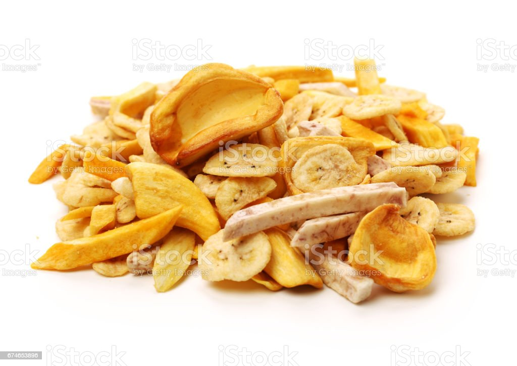 Dried fruit  on white background stock photo