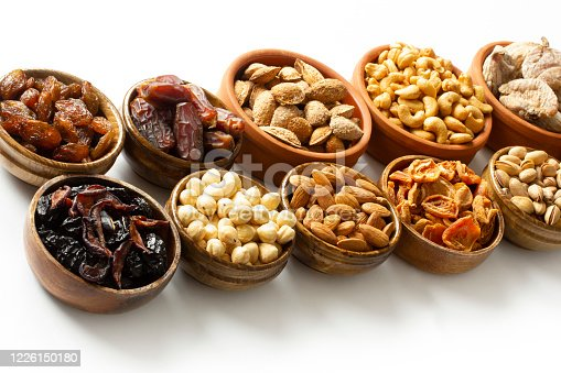 Dried fruits and mixed nuts. Healthy foods.