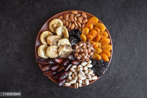 689618578 istock photo Dried Fruits and Nuts on platter 1142424344