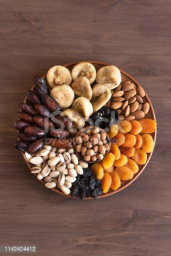 689618578 istock photo Dried Fruits and Nuts on platter 1142424412