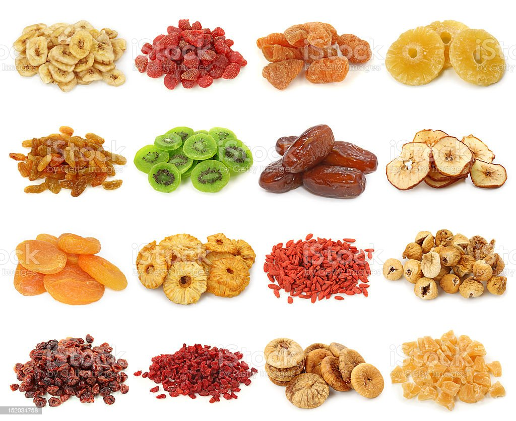 Dried fruits collection stock photo